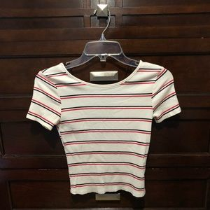 Striped White Forever21 Tee